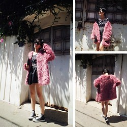 Hien Le - Mascara Fur Coat, Forever 21 Croptop, Daruma Leather Skirt, Converse Sneakers, (From Singapore) Clutch - YOU MAKE ME BLUSH