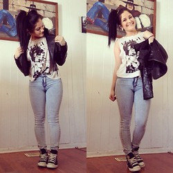 Cena Tamer - H&M Light Wash Jeans, Love Culture Graphic T Shirt, Jcpenny Leather Jacket, Converse - #FeedMeVogue