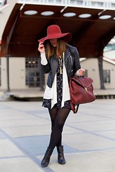 Alexandra G. - H&M Floppy Hat, Walter Baker Moto Leather Jacket, Club Monaco Floral Silk Dress, Zara Booties, Roots Briefcase Bag - '70s Inspired