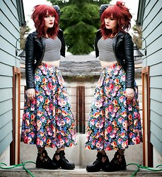 Molly McIsaac - Thrifted Floral Midi Skirt, Jeffrey Campbell Coltranes, Forever 21 Faux Leather Jacket, Forever 21 Striped Crop Top - Stripes and Floral