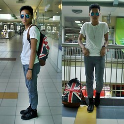 Christopher Regidor - Ray Ban Ombre Mirrored Shades, Markus Blue Pants, Milanos Shoes - Union Jack