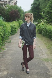 Jagoda - Zara Sweater, H&M Leather Trousers, Zara Lord's Shoes, Pull & Bear Jeans Shirt, H&M Clutch Bag - Claret