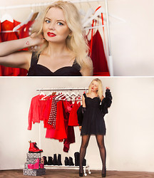 Elin Hansson - Dress, Old Fake Fur, Make Up Store Red Lipstick & Lippencil - ♡ Our love for fashion brought us together! ♡
