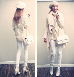 Magdalena Krupa - Chanel Bag, Zara Shoes, H&M Beret, Christian Dior Earrings, Lindex Sweater, Gina Tricot Pants - 50 shades of white.