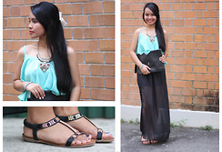 Antoinette Irene - Marie Macli Gold & Black Embellish Sandals, Forever 21 Black Sheer Chiffon Skirt, Turqouise Chiffon Tank Top, Forever 21 Tribal Metal Necklace, White Bow, Envelope Clutch - Tribal Tiffany