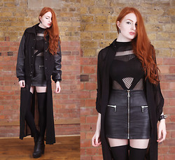 Olivia Emily - Calamity Varsity Jacket, Boohoo Maxi Shirt Dress, Black Milk Clothing A Sassy Nation Bodysuit, Asos Leather Skirt, River Island Boots - Hey.