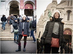 Caroline Paris - Coccinelle Bag, Aldo Wellies, Zara Skort - A 'French' Day at MontMartre