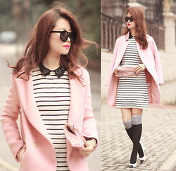 Mayo Wo - Choies Pink Coat, Romwe Lace Collar Striped Dress, Valentino Rockstud Clutch, Chanel Knot Heels - Pink pepper