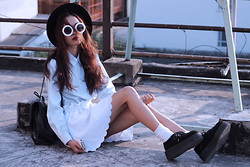 Vu Thien - Thirft Store Shirt, Ecugo Skirt, Rednbold Sunglasses, Mujjo Leather Iphone Sleeve, T.U.K Creepers - BABY BLUE