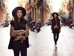 Taru L - Vintage Sequin Shirt, Vintage Belt, Cheap Monday Jeans - Golden Vintage Sequin Shirt