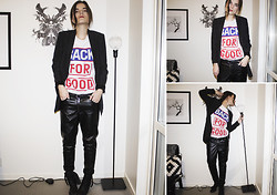 Ingrid Wenell - H&M Long Blazer, Back T Shirt, H&M Faux Leather Pants - I keep dancing on my own