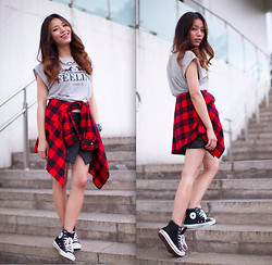 Leah Ho - Urban Outfitters Plaid Shirt, Converse Black Sneakers - FEELING FIRCE