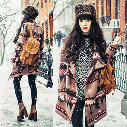 Rachel-Marie Iwanyszyn - Jeffrey Campbell Boots, Romper, Chic Wish Backpack, Asos Faux Fur Hat, Coat - BOHO IN THE SNOW.