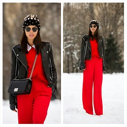 Annabelle Fleur - Ray Ban Sunglasses, Reiss Pants, J. Crew Sweater, Chanel Bag, Iro Jacket - Central Park Red