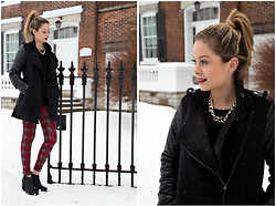 Lauren D - Aldo Gold Chain, Leather Sleeve Jacket, Plaid Jeggings - Pre Polar Vortex