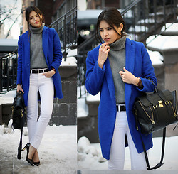 Adriana Gastélum - Sheinside Turtleneck Sweater, Calvin Klein Belt, 3.1 Phillip Lim Pashli Satchel, Coach Samie Heels - Winter basics