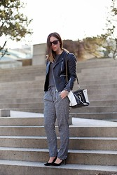 Alexandra G. - Walter Baker Leather Moto Jacket, Joe Fresh Cashmere Crew Neck, Scotch&Soda Printed Slouchy Pants, Roots Two Tone Leather Bag, J. Crew Suede Pumps - Lighten Up