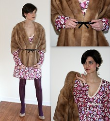 Katie V. - Vintage Consignment Shop Fur, Jessica Simpson Calie Nude Shoes - Valentine's Day Look