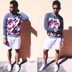 Kenny Jay - Peter Pilotto Abstract Print Sweater, Zara White Cotton Shorts, Zara White Plimsoll - Abstract