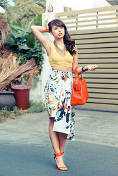 Dominique Marie Tiu - Topshop Yellow Cropped Top, Stradivarius Tribal Necklace, Zara Printed Assymetrical Skirt, Zara Red Ankle Strap Heels, Fendi Red Bag   Chameleon, Tory Burch Red Bangle, Sapphire Beads, Rolex Watch - Hello, Colours!