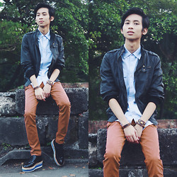 Lanz Paolo - Solo Jacket, Penshoppe Button Down Shirt, Thrifted Creepers - Rockets and Waterfalls