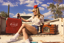 MADELEINE ALEXANDRA - Levi's® Vintage Levi's Denim, American Apparel Thigh High Socks, Keds White, Vintage Boat Polo, Vintage Red Bow - COCA COLA