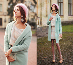 Tina Sizonova - Zara Earrings, Sheinside Coat, Mango Dress, Zara Clutch, Bcbg Shoes - Marshmallow / Pastel trend.