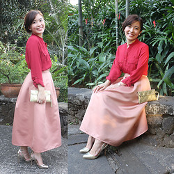 Michelle Lara Tan - Bayo Top, Icandy Skirt, Stradivarius Heels - Tea-Length Skirt