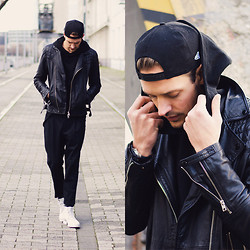 Ben W. - New Era Cap, Zara Sweater, All Saints Leather Jacket, All Saints Trousers, All Saints Boots - Too dark to see