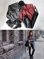 Candice P - Romwe Shirt, Sheinside Jacket, Sheinside Pants, Everything But Not Happiness Beanie - Tartan