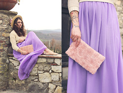 Beatrice Costanzo - Boater, H&M Hair Flower, Sheinside Sweater, Lookbook Store Lavender Chiffon Maxi Skirt, H&M 3 D Rose Clutch - Swim to me, swim to me, let me enfold you