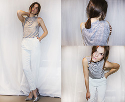 Ingrid Wenell - Stylein Twisted Grey Melange Top, H&M Mint Green Trousers, Cheap Monday Silver Metallic Pumps - Twisted