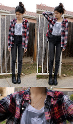 Vanessa Valenzuela - Forever 21 Flannel Shirt, Forever 21 Audrey Hepburn Shirt, Forever 21 Black Boots, Stella Laguna Beach High Waisted Jeans, Brandy Melville Usa Circle Necklace, Dogeared Heart Necklace - Never Mad at Plaid