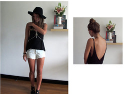 K H - Asos Hat, Asos Body Chain, Asos Tank - Scooped back