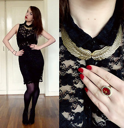 Joosje S - Primark Black Lace Skirt, H&M Black Lace Buttondown, Drop Dead Cross Ring, H&M Golden Wings Necklace, Zara Black Lace Up Wedges - On wednesday we wear black