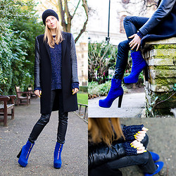 Lydia K - Pieces Beanie, Zara Coat, Whistles Jumper, H&M Necklace, &Other Stories Ring, American Apparel Nail Polish, Zara Pants, Nly Shoes - Blue Suede Shoes