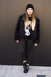 Be Hepburn - Motel Rocks Coat, Lota Tee, Zara Jeans, Wholesale7 Boots - 013
