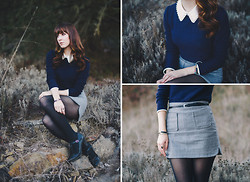 Michelle Elizabeth R - Chic Wish Peter Pan Collar Sweater, Chic Wish Grey Skirt, Lulus T Strap Heels - Grey and Navy Days