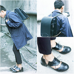 Karl Philip Leuterio - Deandri Archie Oxfords, Bcbg Tailored Pants, Muji Navy Coat, Miki House Japanese Backpack - Cold digger
