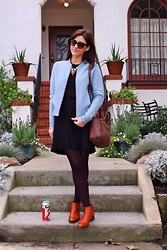 Adrienne KL - J. Crew Jacket, Bcbg Dress, Coclico Boots - Dusty Bluez & Brandy Bootz