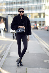 Natasha N - Faux Fur, Bag, Leggings, Boots - London Fashion Week