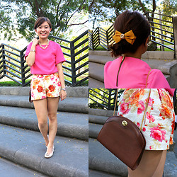 Michelle Lara Tan - Zara Floral Shorts, Tory Burch Shoes - The Shift Blouse