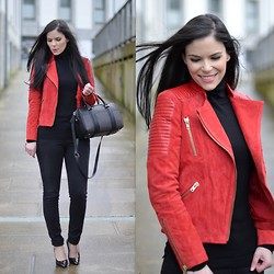Paula Deiros - Mango Jacket, Zara Sweater, Menbur Shoes, Mango Pants, Zara Bag - Red Jacket