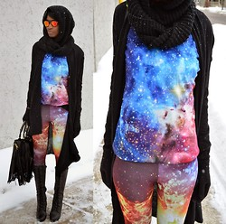Sushanna M. - Choies Galaxy Sweatshirt, Thrifted Galaxy Leggings, Black Knee High Lace Up Wedge Boots, Frontrowshop Black Fringe Bag W/ Gold Braided Handles - With All My Heart & Solar Flare
