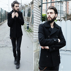 Tony Stone - Topman Black Coat, Caterpillar Black Boots - Knife Game / Growing Up.