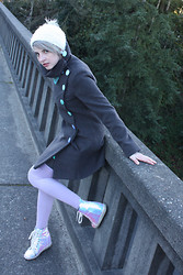 Ash Stash - Diy Sparkle Pom Hat, Dunny Gun Body Jewelry Stone Plug, Fathom Fortuna Lace Necklace, Modcloth Winter Coat, Sock Dreams Thigh High Socks, Urban Outfitters Holographic Sneaker Wedge - I Live in a Hologram with You...