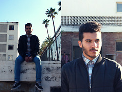 Nizar Bjh - Samsoe Blue Pant, Vans Sneakers, Tom Taylor Shirt, H&M L.O.G.G Jacket - Sitting there..being Around!