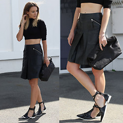 Oraclefox . - Black Leather Skirt, Asos Black Top, Cut Out Flats, The Mode Collective Black Bag - Short Black