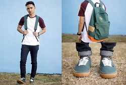 Stephen Garcia - Topman Varsity Shirt, Vans Green X Authentic Gumsole, Topman Backpack Bag - Plain Sporty