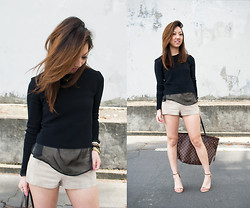 Christine Y - Zara Sweater, H&M Shorts, Zara Sandal Heels, Louis Vuitton Neverfull - MODERN NEUTRAL